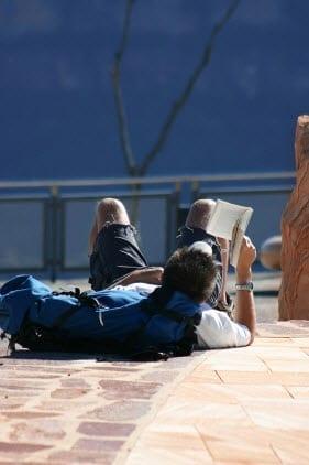 backpacker reading